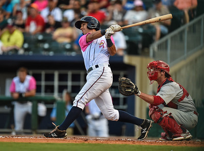 Northwest Arkansas Naturals designated hitter Kenny Diekroeger (8) bats during a baseball game between the NWA Naturals and the Springfield Cardinals at Arvest Ballpark in Springdale, Arkansas, on Friday, July 31, 2015.  The Cardinals won 11-1 in front of a crowd of 5,889.  Photos by Alan Jamison.