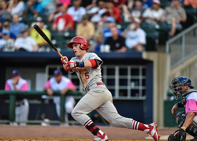 Springfield Cardinals third baseman Patrick Wisdom (5) bats during a baseball game between the NWA Naturals and the Springfield Cardinals at Arvest Ballpark in Springdale, Arkansas, on Friday, July 31, 2015.  The Cardinals won 11-1 in front of a crowd of 5,889.  Photos by Alan Jamison.