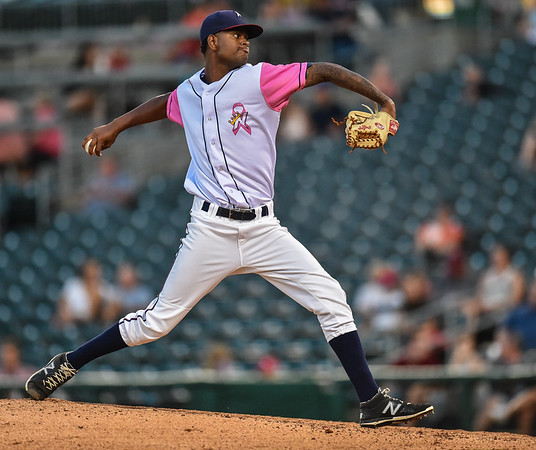 Northwest Arkansas Naturals pitcher Aroni Nina (16) pitches in relief during a baseball game between the NWA Naturals and the Springfield Cardinals at Arvest Ballpark in Springdale, Arkansas, on Friday, July 31, 2015.  The Cardinals won 11-1 in front of a crowd of 5,889.  Photos by Alan Jamison.