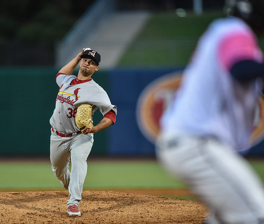 Springfield Cardinals pitcher Arturo Reyes (36) pitches during a baseball game between the NWA Naturals and the Springfield Cardinals at Arvest Ballpark in Springdale, Arkansas, on Friday, July 31, 2015.  The Cardinals won 11-1 in front of a crowd of 5,889.  Photos by Alan Jamison.