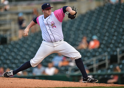 Northwest Arkansas Naturals pitcher Brooks Pounders (39) pitches during a baseball game between the NWA Naturals and the Springfield Cardinals at Arvest Ballpark in Springdale, Arkansas, on Friday, July 31, 2015.  The Cardinals won 11-1 in front of a crowd of 5,889.  Photos by Alan Jamison.