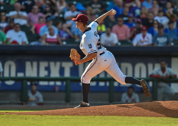 Northwest Arkansas Naturals pitcher Christian Binford (32) pitches during a baseball game between the NWA Naturals and the Springfield Cardinals at Arvest Ballpark in Springdale, Arkansas, on Saturday, August 1, 2015.  The Naturals won 6-5 in front of a crowd of 5,005.  Photos by Alan Jamison.