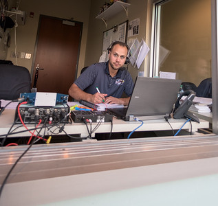 BK's radio booth during a baseball game between the NWA Naturals and the Springfield Cardinals at Arvest Ballpark in Springdale, Arkansas, on Saturday, August 1, 2015.  The Naturals won 6-5 in front of a crowd of 5,005.  Photos by Alan Jamison.