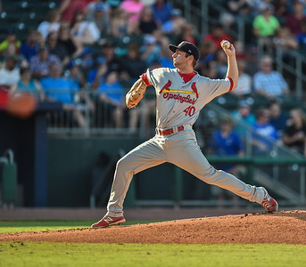 Springfield Cardinals pitcher Jimmy Reed (40) pitches during a baseball game between the NWA Naturals and the Springfield Cardinals at Arvest Ballpark in Springdale, Arkansas, on Saturday, August 1, 2015.  The Naturals won 6-5 in front of a crowd of 5,005.  Photos by Alan Jamison.