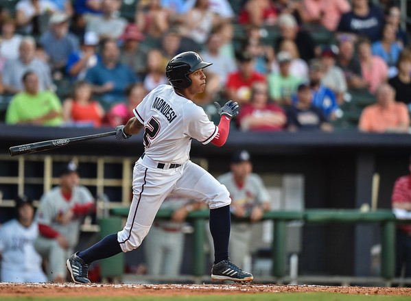 Northwest Arkansas Naturals second baseman Raul Mondesi (2) bats during a baseball game between the NWA Naturals and the Springfield Cardinals at Arvest Ballpark in Springdale, Arkansas, on Saturday, August 1, 2015.  The Naturals won 6-5 in front of a crowd of 5,005.  Photos by Alan Jamison.