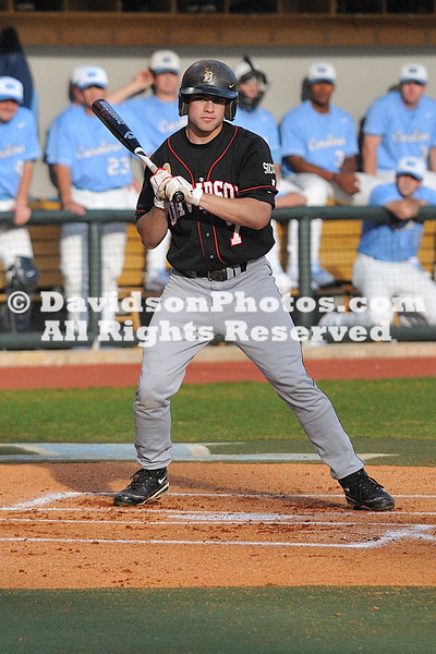 31 March 2009: Davidson Wildcats take on cross-state rival North Carolina in a NCAA mid-week baseball contest.