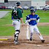 Lunenburg's Drew Thibeault scores a run during the game against Oakmont on Friday afternoon. SENTINEL & ENTERPRISE / Ashley Green