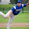 Lunenburg's Dawson Stacy delivers a pitch during the game against Oakmont on Friday afternoon. SENTINEL & ENTERPRISE / Ashley Green