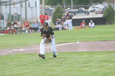 Connor Merrill fields a hit during their game against Alliance on Monday