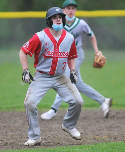 Red Jacket's #7  tags a leadoff in front of Naples shortstop #1414 Photo by Jack Haley for Daily Messenger.