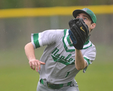 Naples rightfielder #1 tracks down a ball near the rightfield line on Monday. Photo by Jack Haley for Daily Messenger.