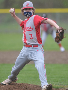 Red Jacket pitcher #3 delivers a pitch in the first inning. Photo by Jack Haley for Daily Messenger.