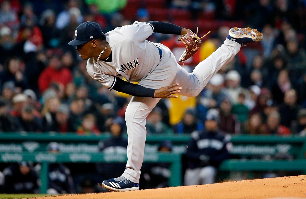 . New York Yankees\' Luis Severino pitches during the first inning of a baseball game against the Boston Red Sox in Boston, Tuesday, April 10, 2018. (AP Photo/Michael Dwyer)