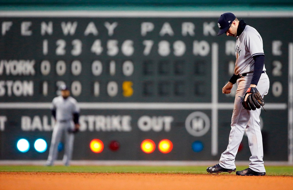 . New York Yankees\' Neil Walker kicks the ground during the sixth inning of a baseball game against the Boston Red Sox in Boston, Tuesday, April 10, 2018. (AP Photo/Michael Dwyer)