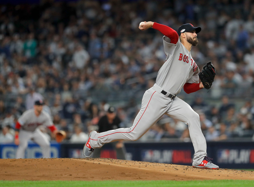 . Boston Red Sox starting pitcher Rick Porcello delivers against the New York Yankees during the first inning of Game 4 of baseball\'s American League Division Series, Tuesday, Oct. 9, 2018, in New York. (AP Photo/Julie Jacobson)