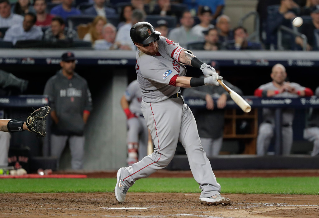 . Boston Red Sox\'s Christian Vazquez connects for a solo home run against the New York Yankees during the fourth inning of Game 4 of baseball\'s American League Division Series, Tuesday, Oct. 9, 2018, in New York. (AP Photo/Frank Franklin II)
