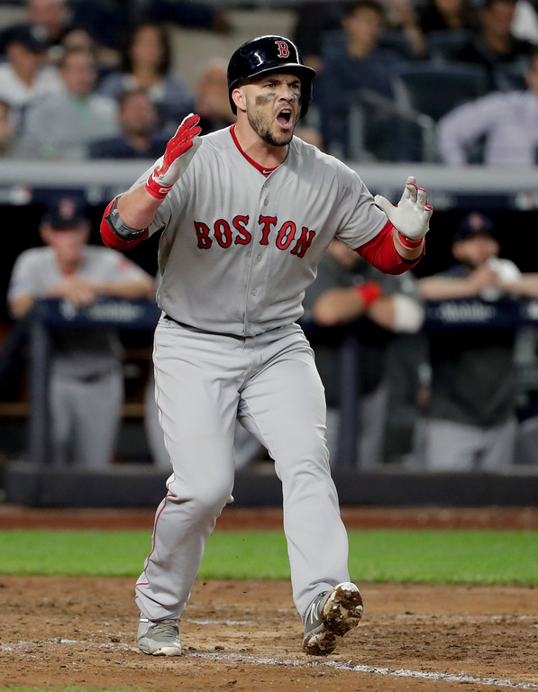 . Boston Red Sox\'s Steve Pearce reacts after striking out swinging against the New York Yankees during the seventh inning of Game 4 of baseball\'s American League Division Series, Tuesday, Oct. 9, 2018, in New York. (AP Photo/Frank Franklin II)