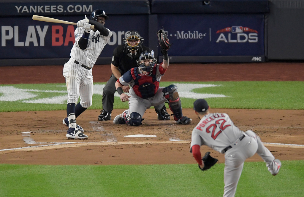 . New York Yankees\' Didi Gregorius strikes out swinging to end the first inning of Game 4 of baseball\'s American League Division Series against the Boston Red Sox, Tuesday, Oct. 9, 2018, in New York. (AP Photo/Bill Kostroun)
