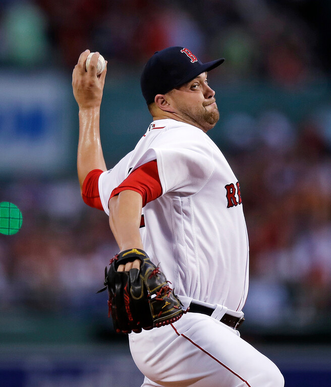 . Boston Red Sox starting pitcher Brian Johnson delivers during the first inning of a baseball game against the Toronto Blue Jays at Fenway Park in Boston, Tuesday, July 18, 2017. (AP Photo/Charles Krupa)