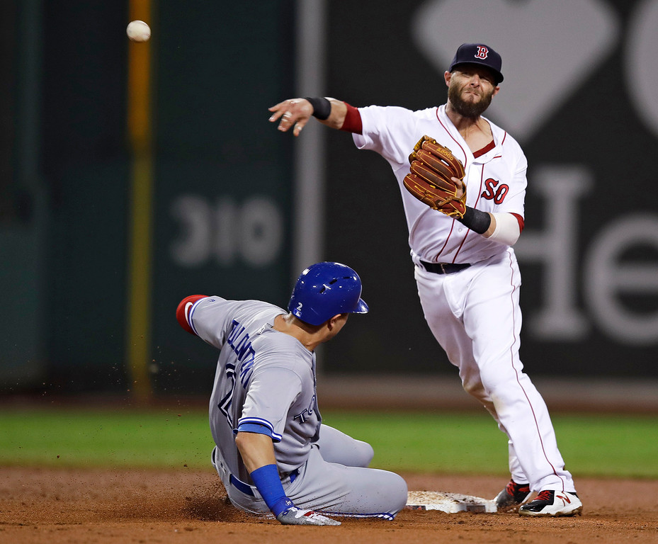 . Boston Red Sox second baseman Dustin Pedroia makes the force out of Toronto Blue Jays\' Troy Tulowitzki, left, but does not turn the double play, on a single by Steve Pearce during the fifth inning of a baseball game at Fenway Park in Boston, Tuesday, July 18, 2017. (AP Photo/Charles Krupa)