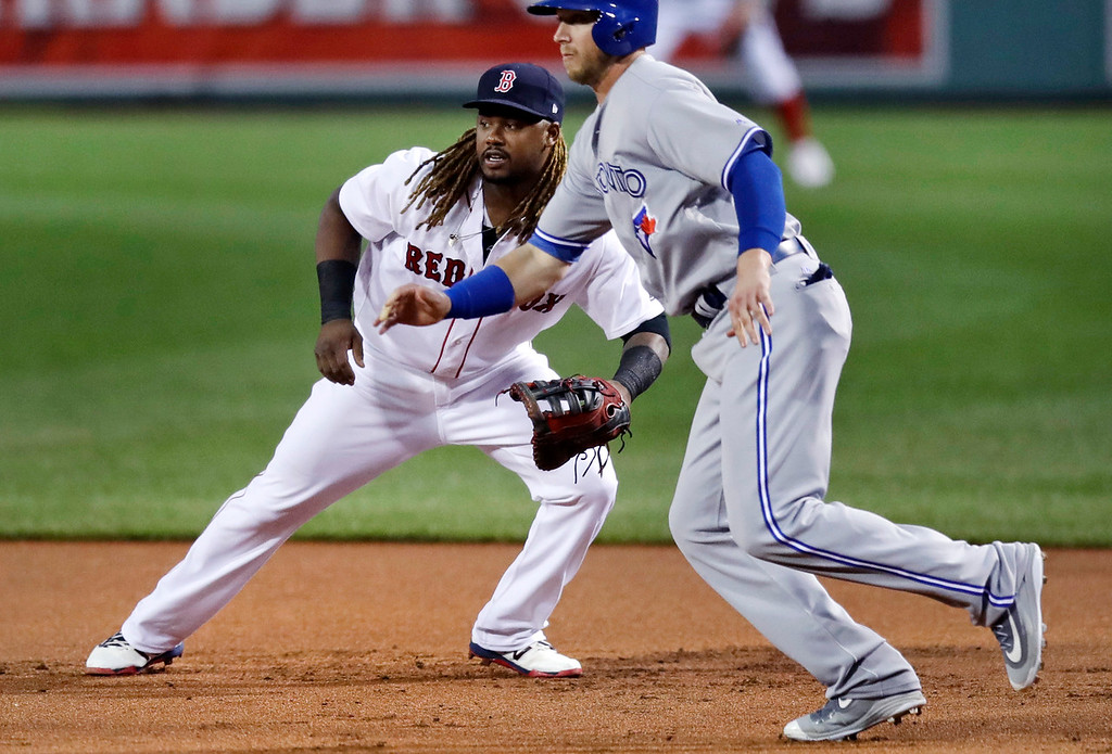. Boston Red Sox first baseman Hanley Ramirez, usually a designated hitter, breaks to his left to cover the base as Toronto Blue Jays\' Justin Smoak starts toward second base during the first inning of a baseball game at Fenway Park in Boston, Tuesday, July 18, 2017. (AP Photo/Charles Krupa)