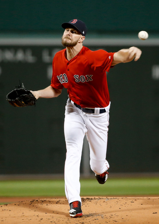 . Boston Red Sox starting pitcher Chris Sale throws to a New York Yankees batter during the first inning of Game 1 of a baseball American League Division Series on Friday, Oct. 5, 2018, in Boston. (AP Photo/Elise Amendola)