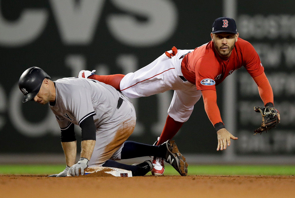 . Boston Red Sox second baseman Ian Kinsler forces New York Yankees\' Brett Gardner out at second during the seventh inning of Game 1 of a baseball American League Division Series on Friday, Oct. 5, 2018, in Boston. Luke Voit was safe at first. (AP Photo/Charles Krupa)