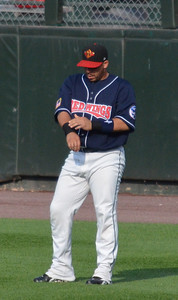 Rene Rivera Getting ready to catch at the Rochester Red Wings game.