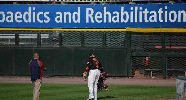L-R: Erik Beiser, Strength and Conditioning Coach, Rene Rivera, starting catcher