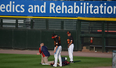 L-R: Erik Beiser, Strength and Conditioning Coach, Jeff Manship, starting pitcher and Bobby Cuellar, Pitching Coach