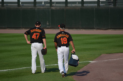 L-R: Jeff Manship, starting pitcher and Bobby Cuellar, Pitching Coach