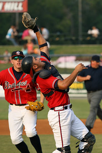 Rome Braves catcher Javier Dominguez catches a pop up fly with first baseman Freddie Freeman backs him up. RA