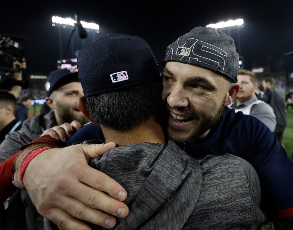 . Boston Red Sox\'s Steve Pearce celebrates after Game 5 of baseball\'s World Series against the Los Angeles Dodgers on Sunday, Oct. 28, 2018, in Los Angeles. The Red Sox won 5-1 to win the series 4 game to 1. (AP Photo/David J. Phillip)