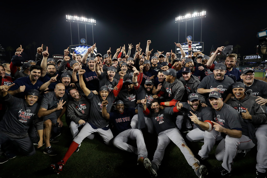 . The Boston Red Sox celebrate after Game 5 of baseball\'s World Series against the Los Angeles Dodgers on Sunday, Oct. 28, 2018, in Los Angeles. The Red Sox won 5-1 to win the series 4 game to 1. (AP Photo/David J. Phillip)
