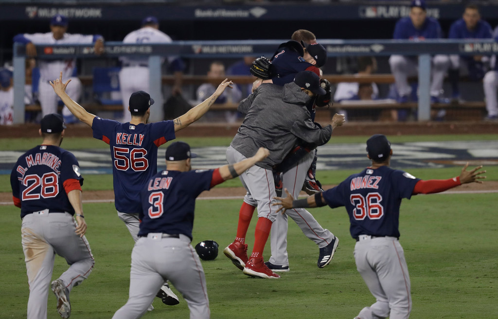. The Boston Red Sox celebrate after Game 5 of baseball\'s World Series against the Los Angeles Dodgers on Sunday, Oct. 28, 2018, in Los Angeles. The Red Sox won 5-1 to win the series 4 game to 1. (AP Photo/Elise Amendola)