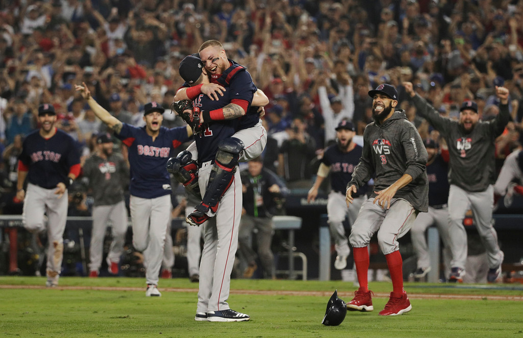 . The Boston Red Sox celebrate after Game 5 of baseball\'s World Series against the Los Angeles Dodgers on Sunday, Oct. 28, 2018, in Los Angeles. The Red Sox won 5-1 to win the series 4 game to 1. (AP Photo/Jae C. Hong)