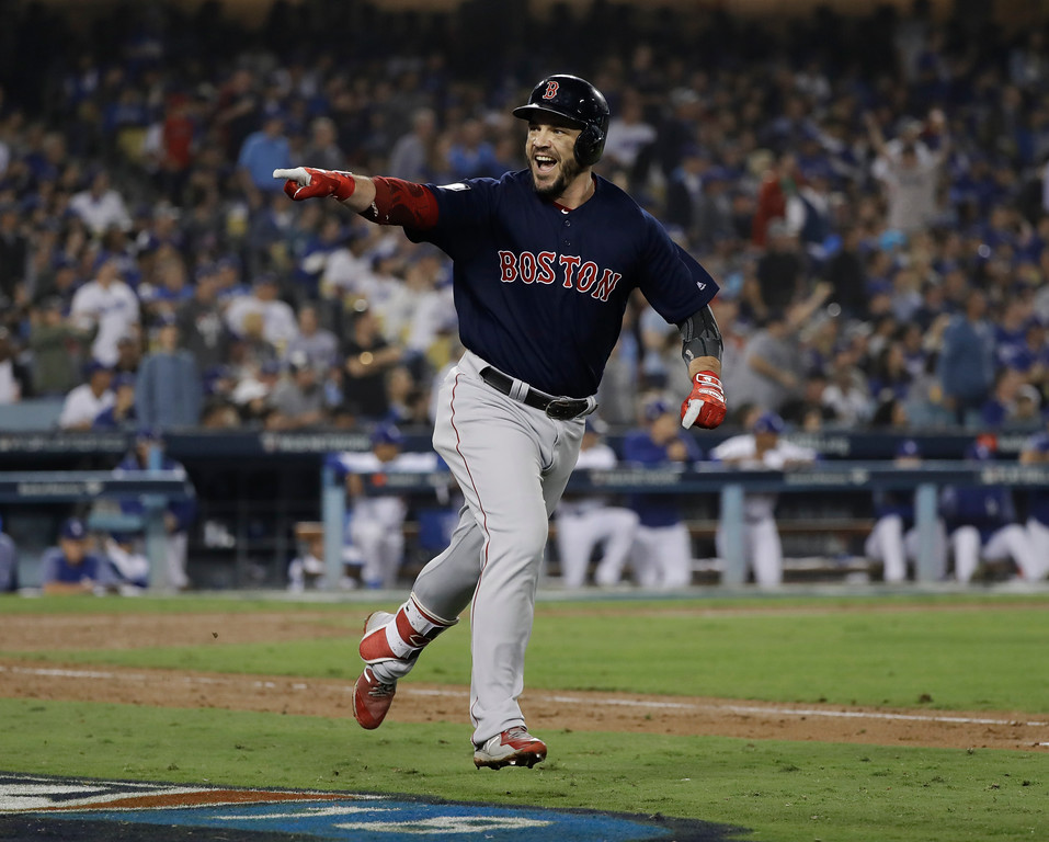. Boston Red Sox\'s Steve Pearce celebrates his second home run during the eighth inning in Game 5 of the World Series baseball game against the Los Angeles Dodgers on Sunday, Oct. 28, 2018, in Los Angeles. (AP Photo/David J. Phillip)
