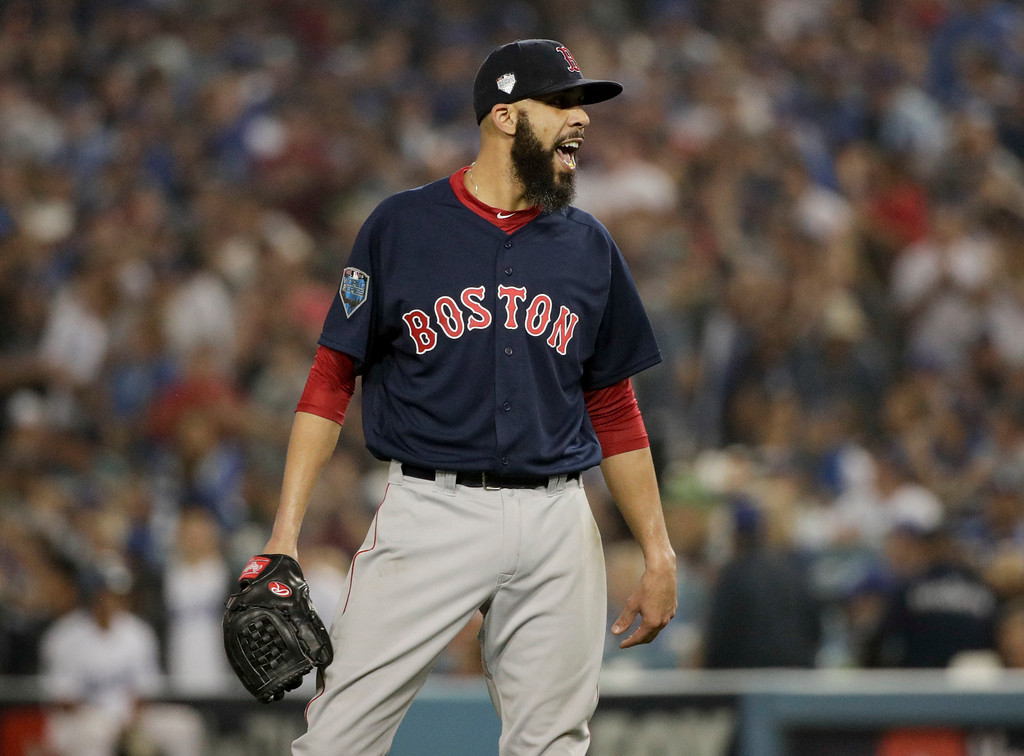 . Boston Red Sox starting pitcher David Price celebrates the end of the seventh inning in Game 5 of the World Series baseball game against the Los Angeles Dodgers on Sunday, Oct. 28, 2018, in Los Angeles. (AP Photo/Jae C. Hong)