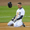Oct 28, 2012; Detroit, MI, USA; Detroit Tigers outfielder Quintin Berry reacts after grounding out in the fifth inning during game four of the 2012 World Series against the San Francisco Giants at Comerica Park.  Mandatory Credit: Tim Fuller-USA TODAY Sports