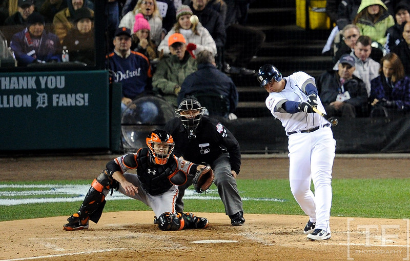 Oct 28, 2012; Detroit, MI, USA; Detroit Tigers third baseman Miguel Cabrera hits a two-run home run against the San Francisco Giants in the third inning during game four of the 2012 World Series at Comerica Park.  Mandatory Credit: Tim Fuller-USA TODAY Sports
