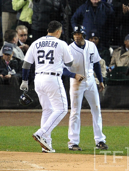 Oct 28, 2012; Detroit, MI, USA; Detroit Tigers third baseman Miguel Cabrera (24) is congratulated by teammate Austin Jackson after hitting a two-run home run against the San Francisco Giants in the third inning during game four of the 2012 World Series at Comerica Park.  Mandatory Credit: Tim Fuller-USA TODAY Sports