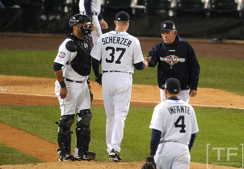 Oct 28, 2012; Detroit, MI, USA; Detroit Tigers pitcher Max Scherzer (37) is relieved by manager Jim Leyland (right) in the 7th inning during game four of the 2012 World Series against the San Francisco Giants at Comerica Park.  Mandatory Credit: Tim Fuller-USA TODAY Sports
