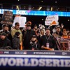 Oct 28, 2012; Detroit, MI, USA; San Francisco Giants fans cheer after game four of the 2012 World Series against the Detroit Tigers at Comerica Park.  The Giants won 4-3 to sweep the series.  Mandatory Credit: Tim Fuller-USA TODAY Sports