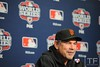 Oct 27, 2012; Detroit, MI, USA; San Francisco Giants manager Bruce Bochy speaks at a press conference before game three of the 2012 World Series against the Detroit Tigers at Comerica Park.  Mandatory Credit: Tim Fuller-USA TODAY Sports