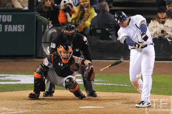 Oct 27, 2012; Detroit, MI, USA; Detroit Tigers third baseman Miguel Cabrera (24) breaks his bat on a ground out against the San Francisco Giants during the eighth inning of game three of the 2012 World Series at Comerica Park.   Mandatory Credit: Tim Fuller-USA TODAY Sports