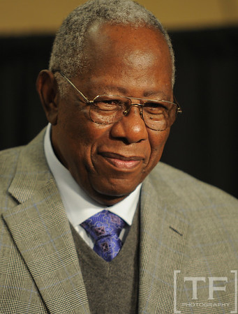 Oct 27, 2012; Detroit, MI, USA; MLB former player Hank Aaron at a press conference before game three of the 2012 World Series between the Detroit Tigers and the San Francisco Giants at Comerica Park.  Mandatory Credit: Tim Fuller-USA TODAY Sports