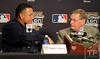 Oct 27, 2012; Detroit, MI, USA; Detroit Tigers third baseman Miguel Cabrera (left) shakes hands with MLB commissioner Bud Selig (right) after being awarded the Hank Aaron award before game three of the 2012 World Series at Comerica Park.  Mandatory Credit: Tim Fuller-USA TODAY Sports