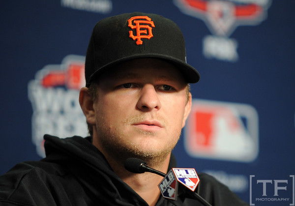 Oct 27, 2012; Detroit, MI, USA; San Francisco Giants pitcher Matt Cain at a press conference before game three of the 2012 World Series against the Detroit Tigers at Comerica Park.  Mandatory Credit: Tim Fuller-USA TODAY Sports