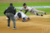 Oct 27, 2012; Detroit, MI, USA; Detroit Tigers first baseman Prince Fielder (middle) dives for the ball to force out San Francisco Giants outfielder Gregor Blanco (right) in the 7th inning during game three of the 2012 World Series at Comerica Park.  Mandatory Credit: Tim Fuller-USA TODAY Sports