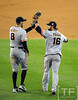Oct 27, 2012; Detroit, MI, USA; San Francisco Giants outfielder Hunter Pence (8) celebrates with teammate Angel Pagan (16) after game three of the 2012 World Series against the Detroit Tigers at Comerica Park.  Mandatory Credit: Tim Fuller-USA TODAY Sports